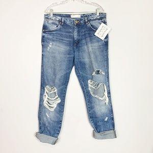 Zara | distressed boyfriend jeans cuffed size 8